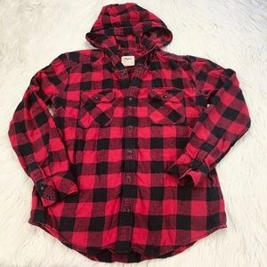 TNA boyfriend fit flannel buffalo check plaid